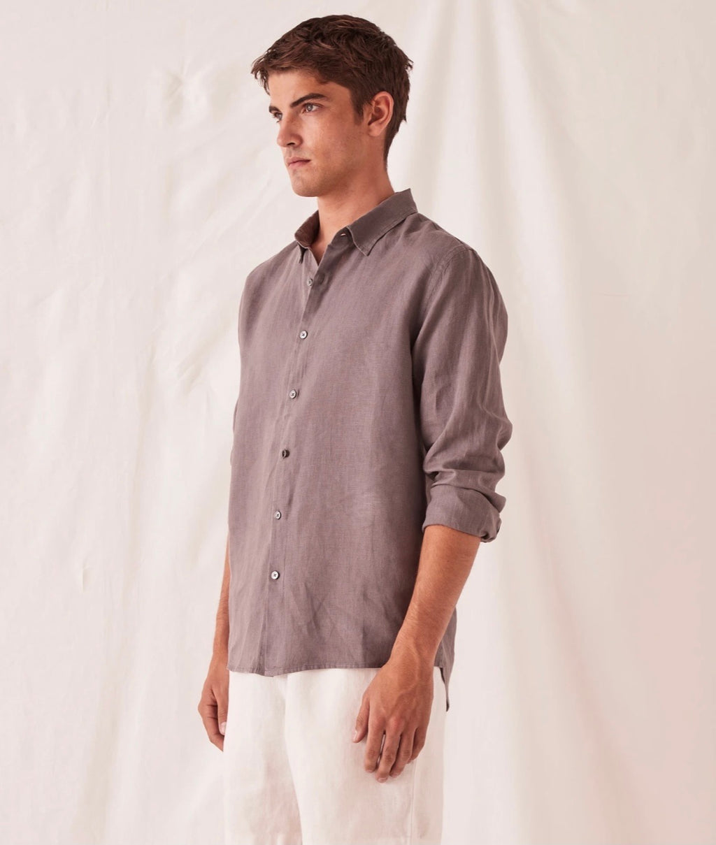 Casual Long Sleeve Shirt Sable
