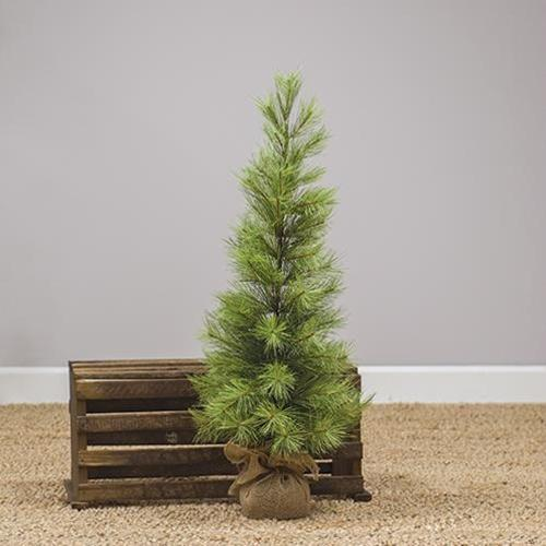 Skinny Long Needle Pine Tree w/Burlap Base, 3 ft.