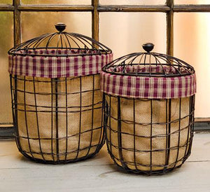 *2/Set, Burlap Wire Baskets
