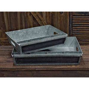 2/Set, Galvanized Divided Trays