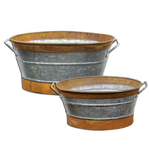 2/Set, Rusty Galvanized Buckets