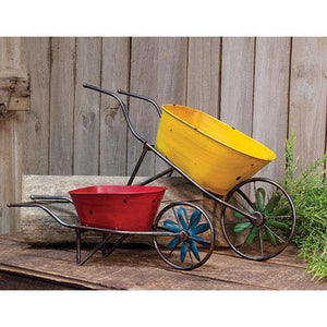 2/Set, Antique Metal Wheelbarrows