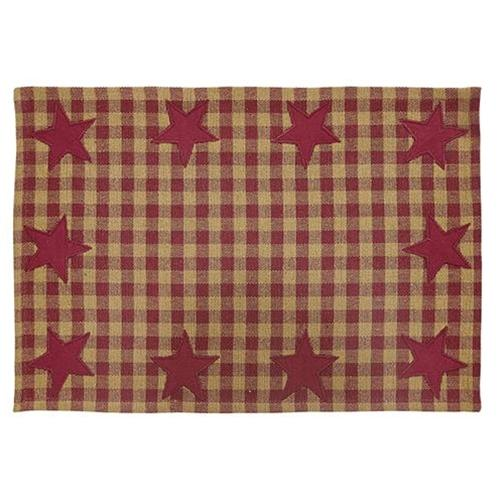 6/Set, Burgundy Star Placemats