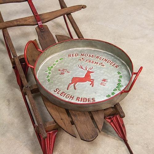 Red Nose Reindeer Metal Tray