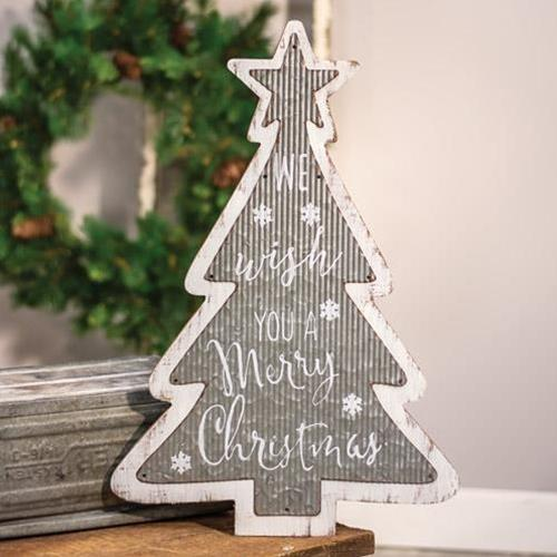 Galvanized Metal and Wood Merry Christmas Tree Sign