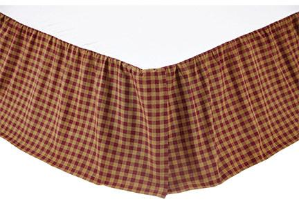 King Bed Skirt Burgundy Check