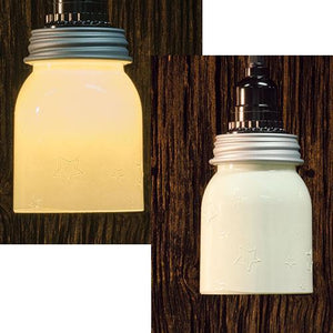 "*5"" Cream Mason Jar Lamp w/Adapter"