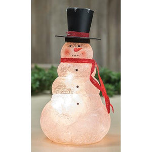 Frosted Glass Lit Snowman, 11""