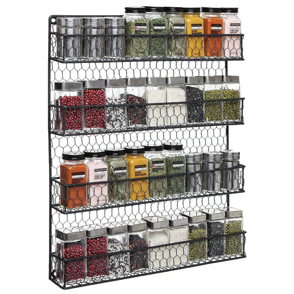 4-Tier Black Chicken Wire Spice Rack for the Pantry, Cabinet or Wall Mounted.