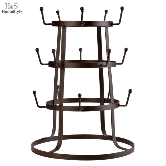 Homestyle Tree Storage Rack Stand Iron Mug/ Cup /Glass Bottle Organizer Bottle Holder Rustic Vintage Style Brown N3020