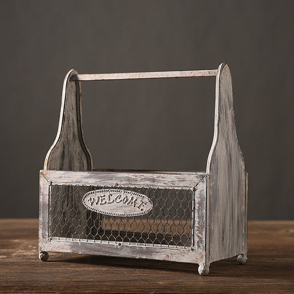 Rustic Wood & Iron Bottle Basket