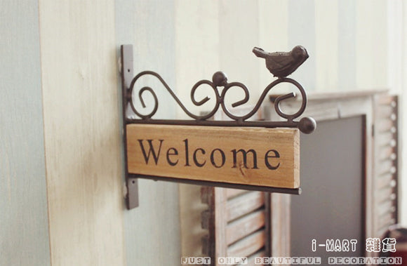 Wrought Iron Wood Bird Welcome Sign