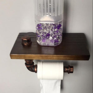 Wall Mounted Bathroom Shelf & Metal Toilet Paper Roll Holder.