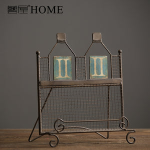 Country style iron shelf books iron art magazine storage shelf  vintage books rack home bars cafe decor