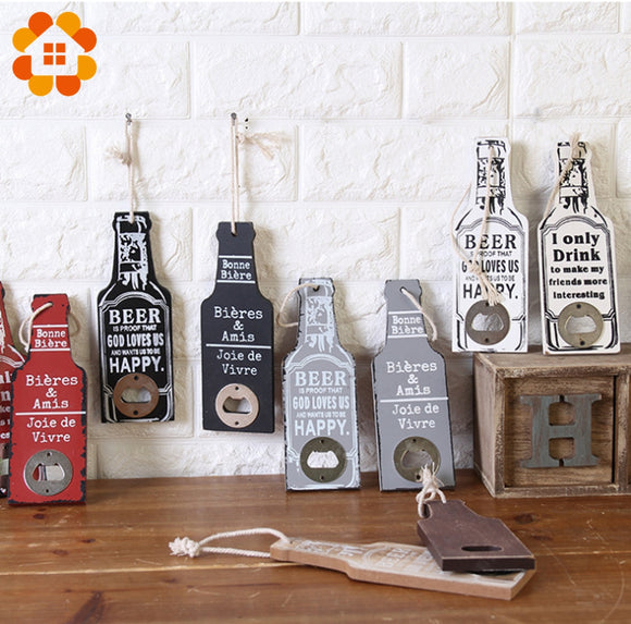 Wooden Wall Hanging Bottle Opener with Text.
