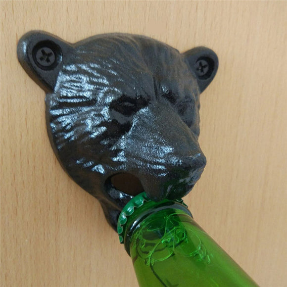 Black Grizzly Bear Bottle Opener Cast Iron Lodge Cabin Wall Mounted Pub Bar Beer Cap Opener Kitchen Tools Accessories