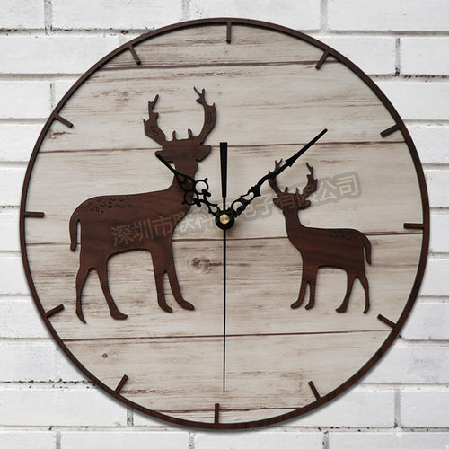 12 Inch wooden deer clock.
