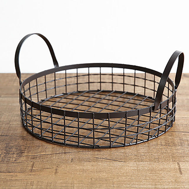 Rustic Wire Net Multi-functional Black Metal Round Storage Basket.