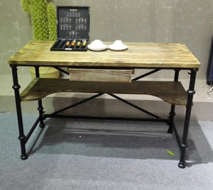 Country style double-layer table for study room, notebook, or computer desk.