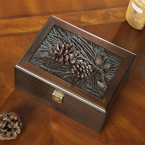 Pine cones wooden jewelry box.