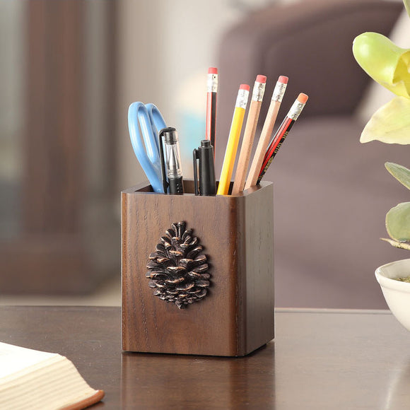 Pine cones resin wooden pencil holder.