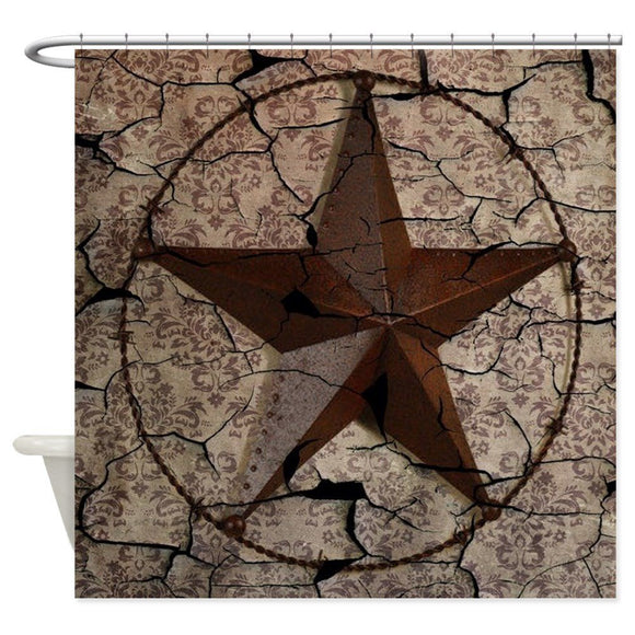 Rustic Texas Lone Star Decorative Fabric Shower Curtain 12 Hooks Curtains Bath Customize Wholesale