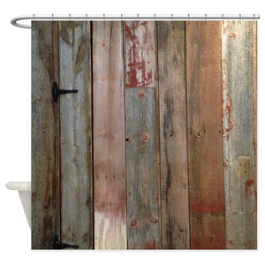 Rustic Western Barn Wood Decorative Fabric Shower Curtain For The Bathroom With 12 Hooks