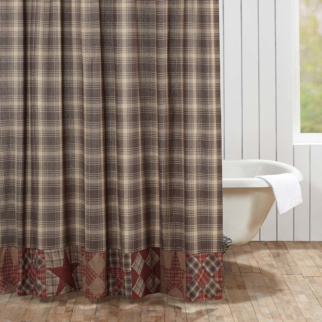 Rustic & Lodge Bath Dawson Star Brown Patchwork Shower Curtain