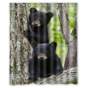 Black Bear Family In The Forest - Waterproof Shower Curtain