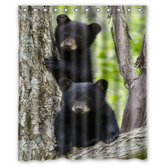 Waterproof Bathroom Black Bear Family In The Forest Shower Curtain