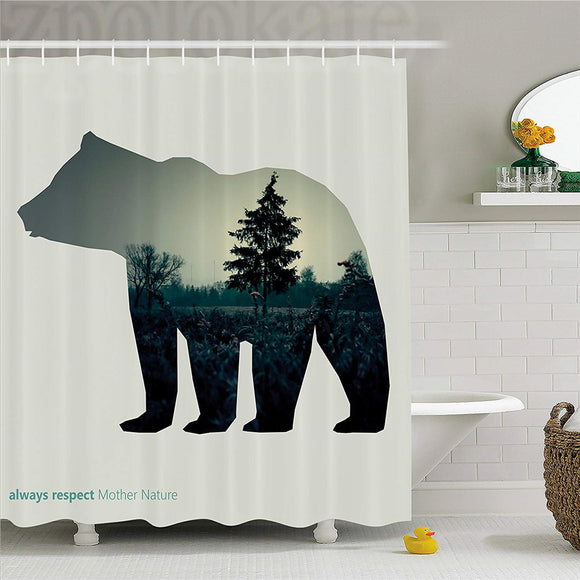 Cabin Decor Shower Curtain, Line Icon of Bear and Always Respect Mother Nature Text Dark Forest, Fabric Bathroom Decor Set with
