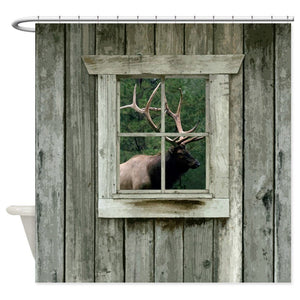 Old Wood Cabin Window With Bull Elk Decorative Fabric Shower Curtain Bath Products Bathroom Decor with Hooks Waterproof