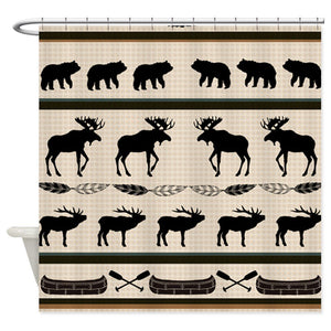Cabin Blanket Design Fabric Shower Curtain with Hooks