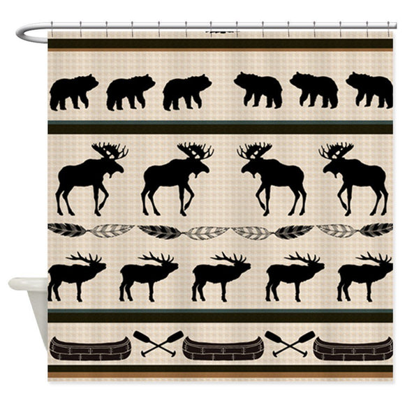 Mountain Cabin Blanket Design Decorative Fabric Shower Curtain Bath Products Bathroom Decor with Hooks Waterproof