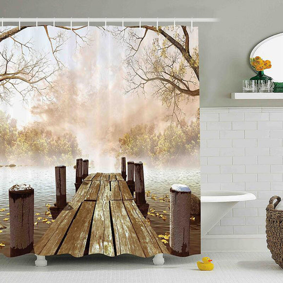 Shower Curtain Collection, Ocean Decor Fall Wooden Bridge Seasons Lake House Nature Country Rustic Home Art Paintings Pictures
