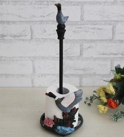3 Pieces Cast Iron Duck Paper Roll Towel Holder