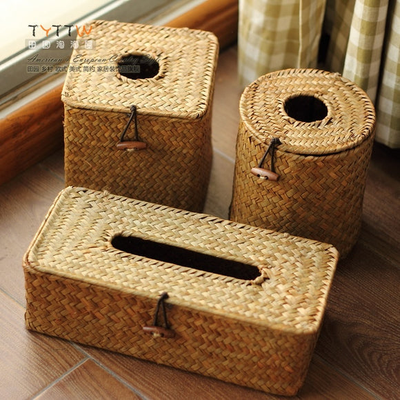Handmade Braided Straw Tissue Box