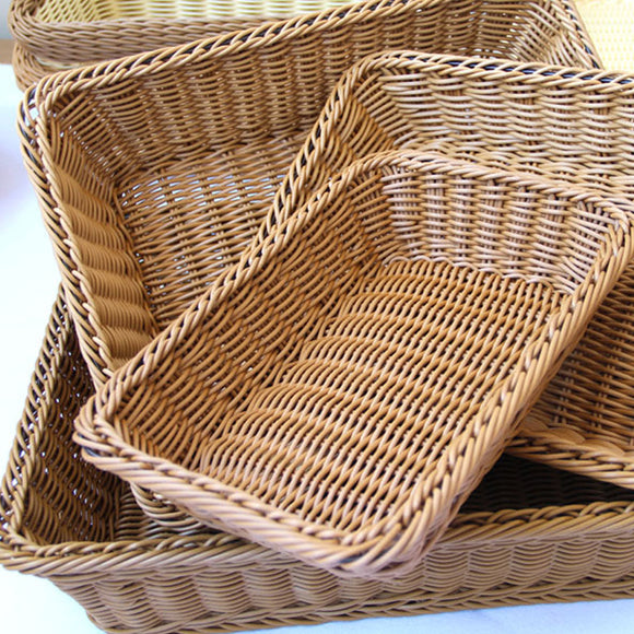 Simulation Bamboo Country Basket - Rectangular Four Sizes