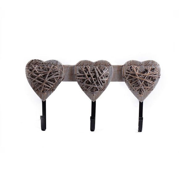 Wooden Heart Shape Ornamental Hooks for Coats, Hats, and Towels