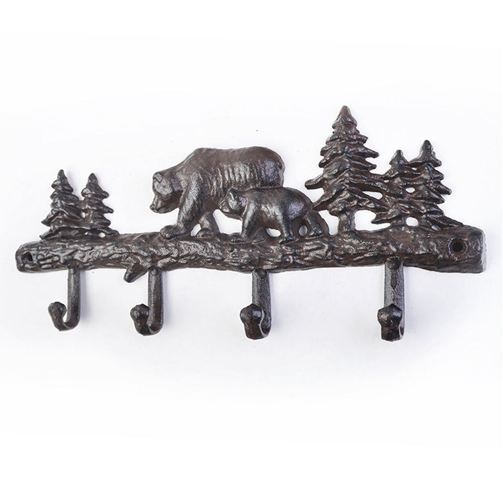 Cast Iron Bear in the Woods Wall Hooks for Coats, Hats, and Towels