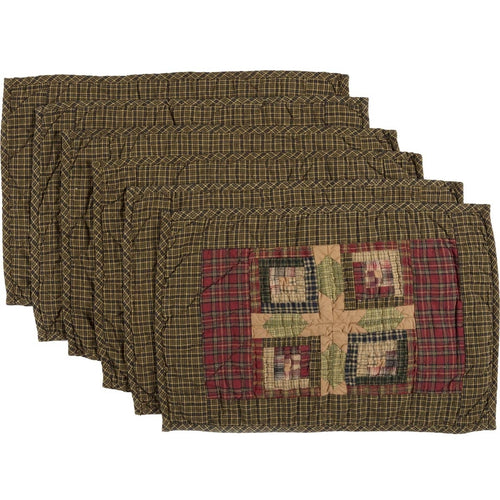 Rustic & Lodge Tabletop & Kitchen Cabin Green Quilted Place-mat Set of 6