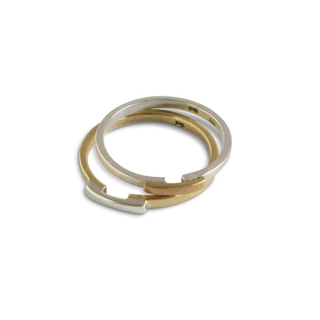 Two Tone Ring Messing mit Silber