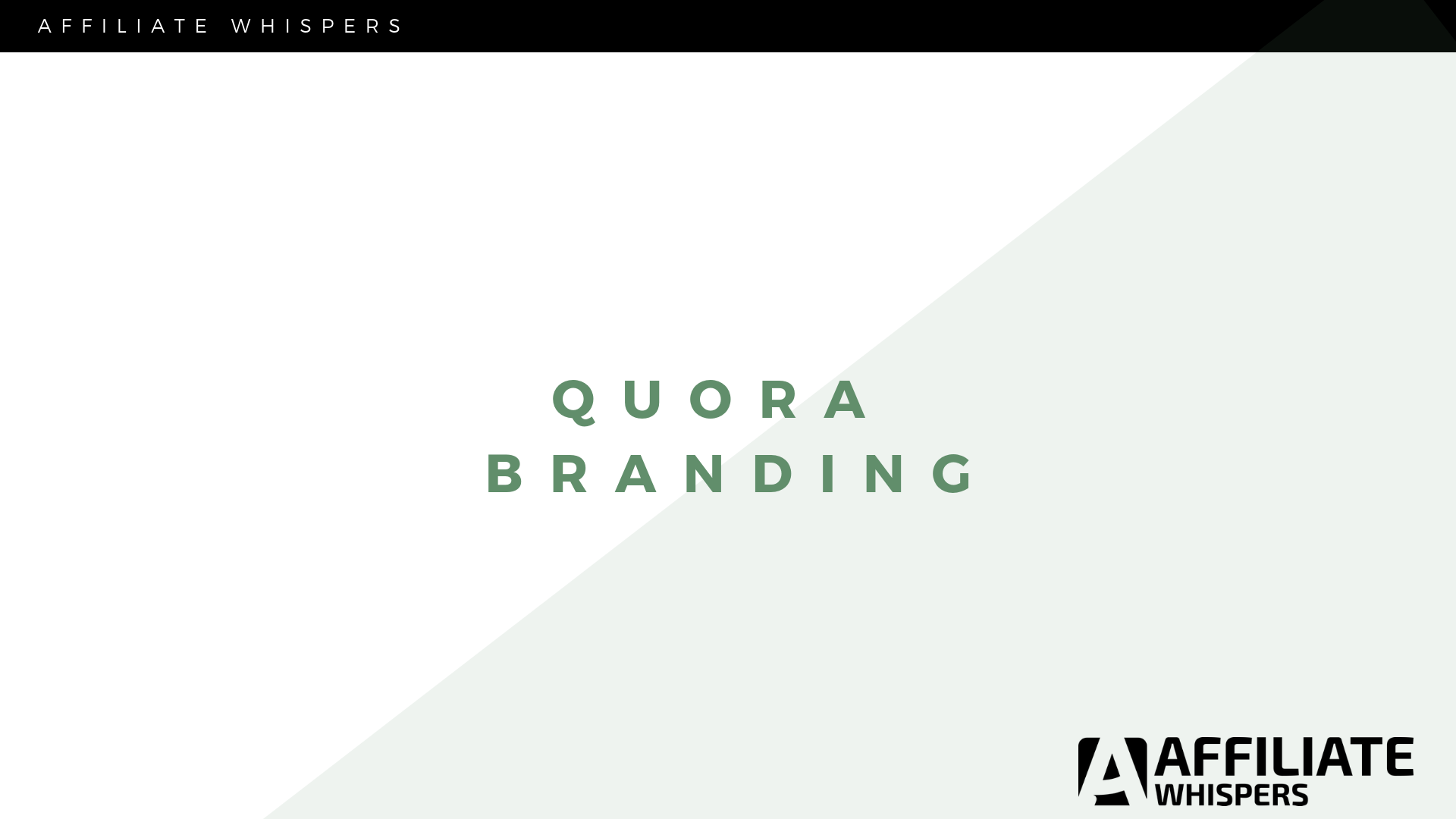 Quora: How to Brand Yourself