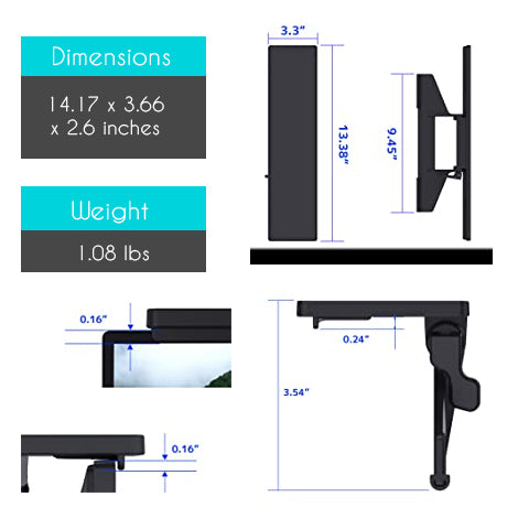 Specifications of the Monitor and TV Top Shelf