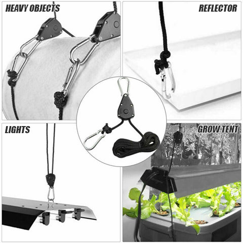Hang different objects with 1/8 Inch, 8-feet Adjustable Rope Clip Hanger