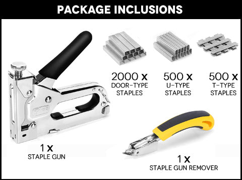 3-in-1 Staple Gun with Remover Package Inclusions