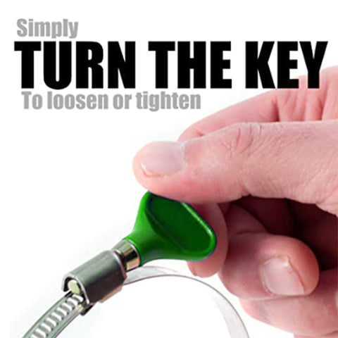 Simply turn key to loosen or tighten hose clamp