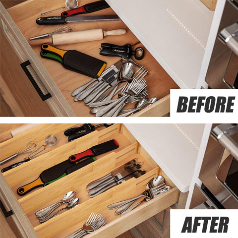 Without divider VS using the Bamboo Drawer Divider