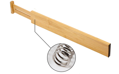 Easy to install Bamboo Drawer Divider with spring mechanism
