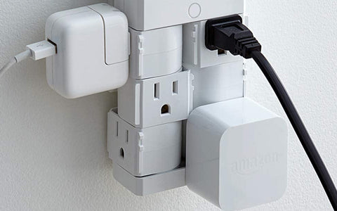 On-Wall Surge Protector with 6 Pivoting AC Outlets
